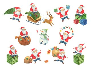Collection of Christmas watercolor Santa Claus. Santa and new year characters in different poses. Santa is riding a sleigh with a reindeer with gifts. happy new year aqarelle poster isolated