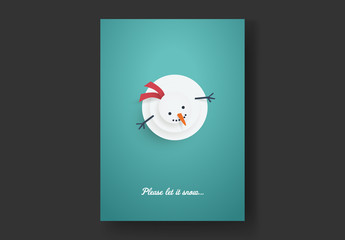 Christmas Card Layout with Snowman Looking Up