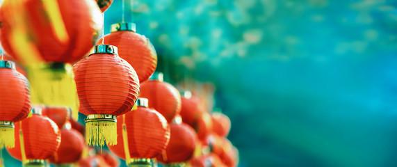 Chinese new year lanterns in chinatown. Fototapete
