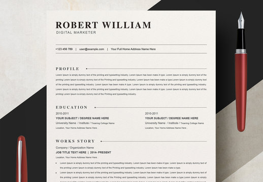 Clean Resume Layout with Cover Letter