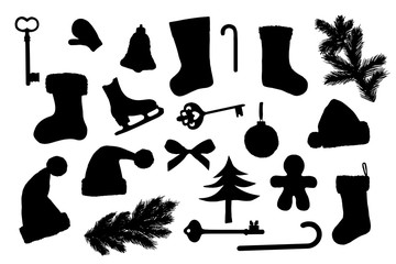 Different Christmas things, new year symbols silhouettes set on white background