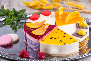 Fruit and berry stock, set of cakes in the range