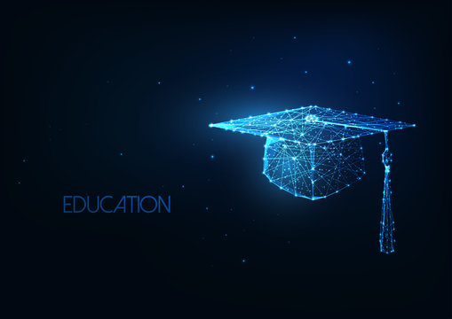 Futuristic education concept with glowing low polygonal graduation hat on dark blue background.