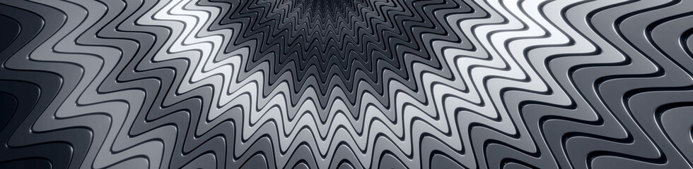 Wavy glossy layered grayscale background - 3D illustration