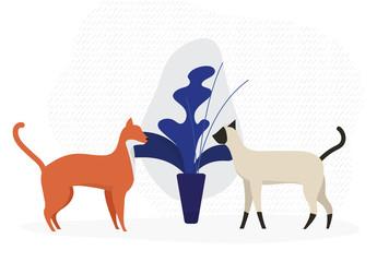 Pets and Plants Illustration Icon Set