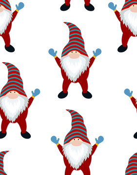 christmas winter pattern with funny gnome