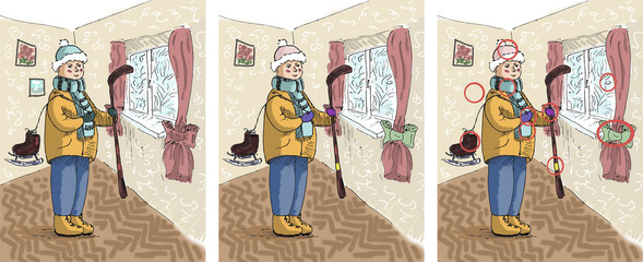 Cartoon hockey player. Cute kid in the room with hockey stick. Winter sport illustration for children. Cute colored illustration for book for finding 10 differences. 10 differences game with answers.