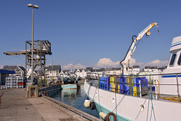 Fishing boat in the industrial harbor of La Turballe, a commune in the Loire-Atlantique department in western France.