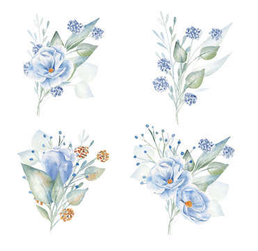 Blue and red flowers hand drawn aquarelle illustrations set