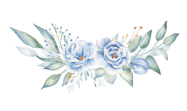 Blue flowers and plant twigs hand drawn aquarelle illustration