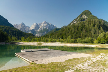 Lake and mountains near Kranjska Gora  village in Triglav national park, Slovenia