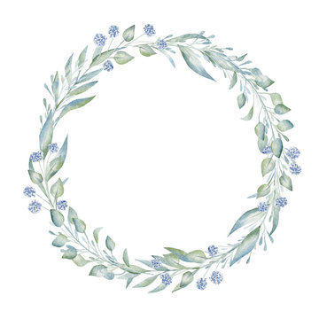 Blank hand drawn floral wreath aquarelle frame