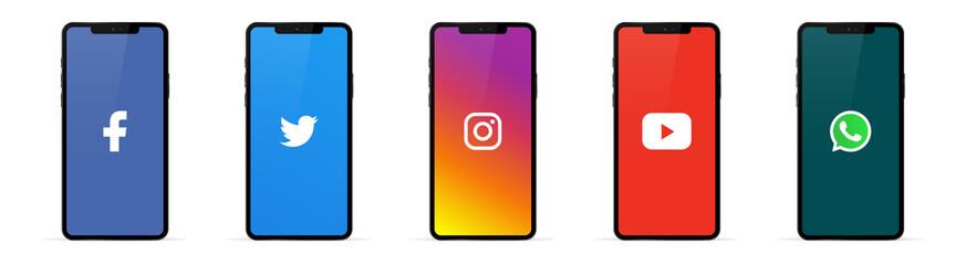 Facebook, instagram, twitter, youtube, whatsapp on iphone 11 screen - Collection of popular social media logo. Editorial vector. Kyiv, Ukraine - November 26, 2019