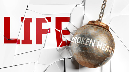 Broken heart and life - pictured as a word Broken heart and a wreck ball to symbolize that Broken heart can have bad effect and can destroy life, 3d illustration