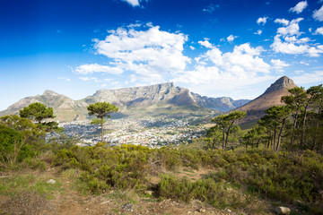 View at Table mountain and Lions head, Cape Town, South Africa