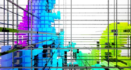 Abstract white and colored gradient  interior from array cubes with large window. 3D illustration and rendering. Fotoväggar