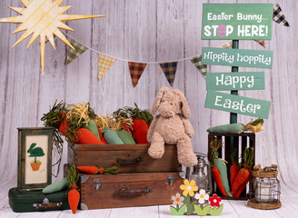 For Easter holidays, colorful backdrops for photo studios, with elements like: eggs, bunnies rabbit, carrots, easter signs, big flowers, giant mushrooms, boxes.