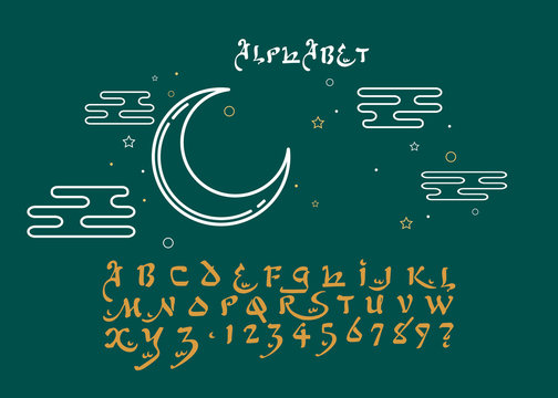 The Latin alphabet is made by hand and the alphabet is in Arabic style. The original hand-made font with imitation of Arabic letters. Original Background.