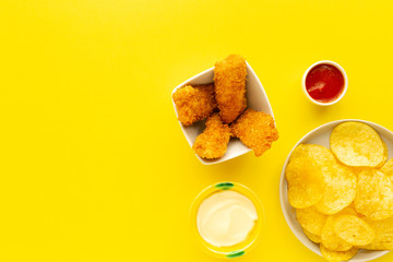 Homemade chicken nuggets battered with panko