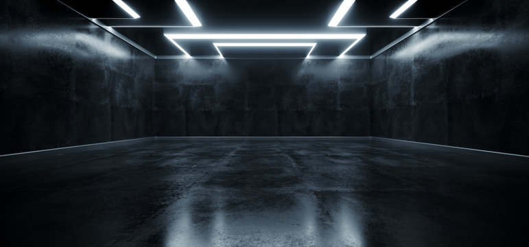 Empty Grunge Concrete Modern Room Ceiling White Led Lights Rectangle Shape Hall Garage Underground Industrial Background 3D Rendering