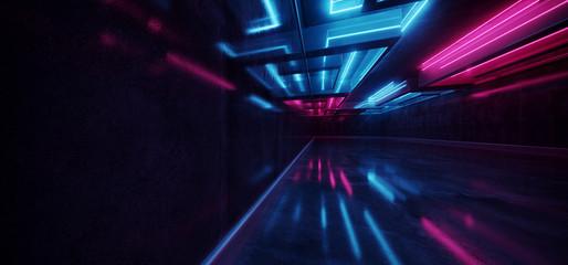 Laser Show Club Dark Neon Sci Fi Futuristic Retro Purple Blue Glowing Ceiling Lights Concrete Grunge Garage Stage Tunnel Room Hall 3D Rendering