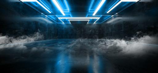 Smoke Fog Mist Laser Show Club Dark Neon Sci Fi Futuristic Retro Blue Glowing Ceiling Lights Concrete Grunge Garage Stage Tunnel Room Hall 3D Rendering