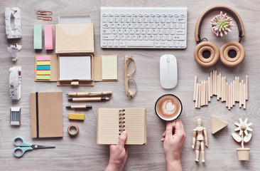 Concept flat lay with modern office supplies from eco friendly sustainable materials without single use plastic to reduce waste and organize sustainable lifestyle.