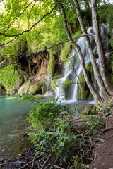 Tuinposter Bos rivier Waterfalls on the Plitvice lakes, Croatia