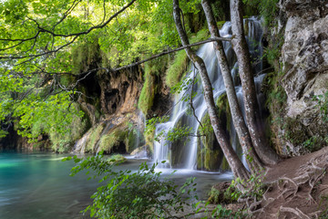 Foto op Textielframe Bos rivier Waterfalls on the Plitvice lakes, Croatia