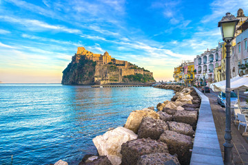 Ischia island and Aragonese medieval castle. Campania, Italy. Fototapete