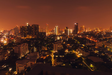 Wall Murals Los Angeles Bangkok night view with skyscraper in business district in Bangkok Thailand