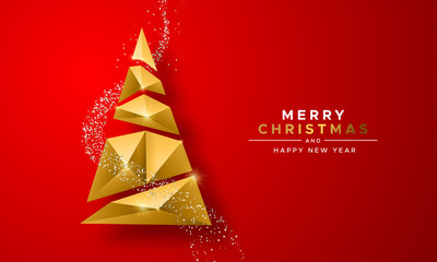 Wall Mural - Christmas New Year gold 3d low poly tree red card