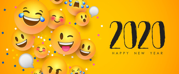 Wall Mural - New year 2020 funny 3d smiley face chat icon card