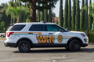 Campus security vehicle for Rancho Santiago Community College District parked at district office on November 14, 2019, in Santa Ana, California.