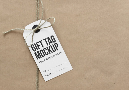 Gift Tag on Craft Paper Package Mockup