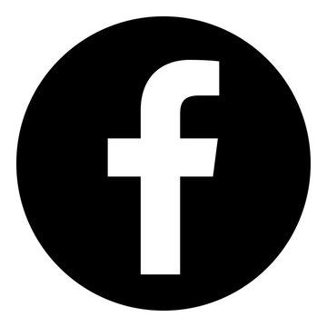 VORONEZH, RUSSIA - NOVEMBER 21, 2019: Facebook logo round icon in black color
