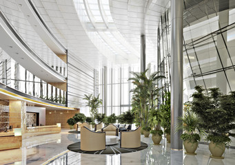 Large open concept contemporary atrium style resort lobby interior. 3d rendering