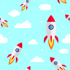 Seamless pattern of rockets with clouds  on blue sky vector. Great for textile, walpapers or any craft for children.