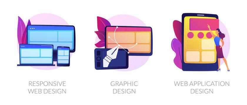 Adaptive programming icons set. Multi device development, software engineering. Responsive web design, graphic design, web application design metaphors. Vector isolated concept metaphor illustrations