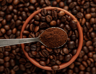 coffee beans on stone background, close-up
