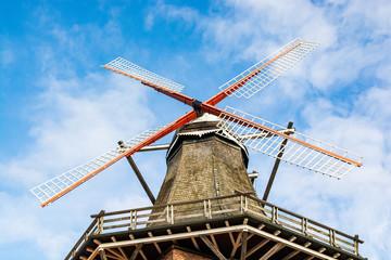 Jork, Germany - November 09, 2019. Old windmill rebuilt to restaurant Die Muehle Jork