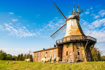 Hechthausen, Germany - November 10, 2019. Old windmill by the river Oste - Galeriehollaender