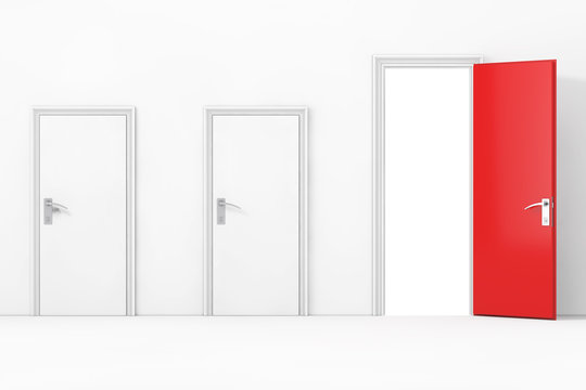 Three Business Office Doors, with One Big, Main, Opened and Red in Front of Wall. 3d Rendering
