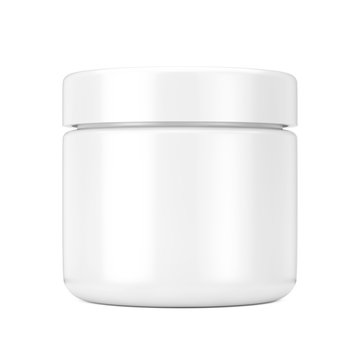 White Cosmetic Jar with Lid for Cream or Gel Mockup. 3d Rendering