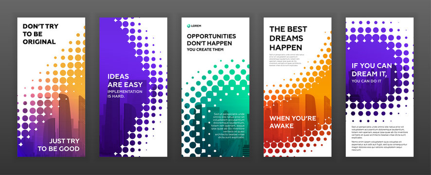 Social media stories templates set. Design background for banner. Personal blog post layout. Instagram or facebook stories template.