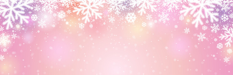 Wall Mural - Pink christmas banner with white blurred snowflakes. Merry Christmas and Happy New Year greeting banner. Horizontal new year background, headers, posters, cards, website. Vector illustration