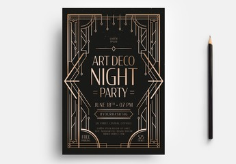 Black and Gold Art Deco Flyer Layout