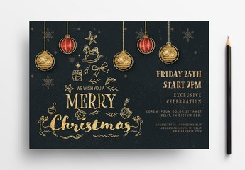 Holiday Event Flyer Layout with Gold Illustrations