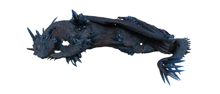 Blue crystal dragon sleeping isolated on white, 3d render.