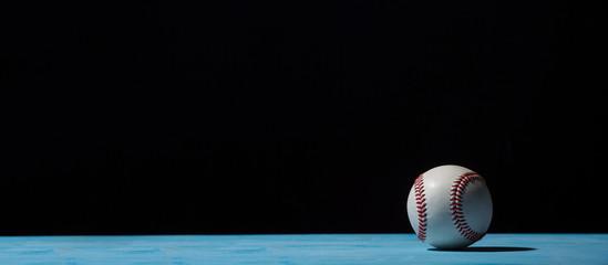 Baseball Ball On  Blue Wooden Table